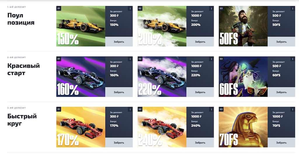 F1 казино бонусы